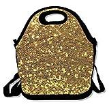 Bolsa de almuerzo Bolsa de asas de color dorado Lentejuelas 1 Fiambrera aislada Fiambrera impermeable, Bolsas de cosméticos para mujer