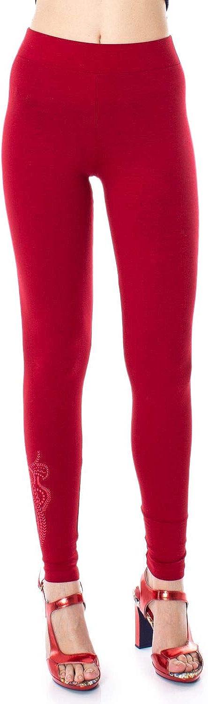 Desigual Women's 19SWKK03RED Red Cotton Leggings