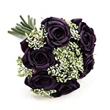 Trwcrt Artificial Flowers, Fake Roses with Stems, Silk Flowers Bouquet for Home Wedding Decoration (Deep Purple)