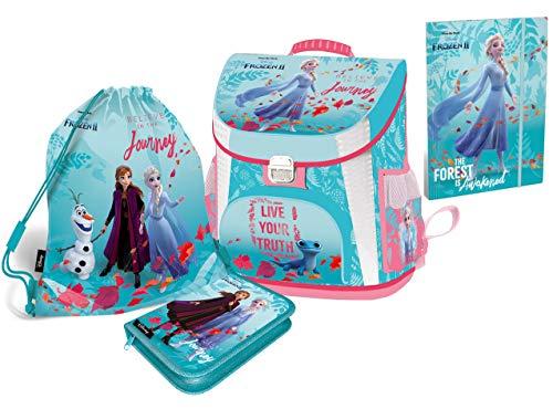 Disney Eiskönigin Frozen Schulranzen Mädchen 1 Klasse Tornister Schulrucksack Schultasche Set 5 teilig für Grundschule | inkl. Federmäppchen Sportbeutel A4 Box und Frozen Sticker