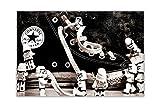 Póster en blanco y negro de Star Wars Stormtroopers alrededor de Converse Trainers Póster de decoración de pared, imágenes brillantes, tamaño A2 (59,4 cm x 42 cm)