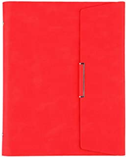 $29 » Loose-Leaf Notebook, Detachable, Business Notepad, Office Leather Meeting Minutes, Thick 272X214Mm (1 Piece) Red