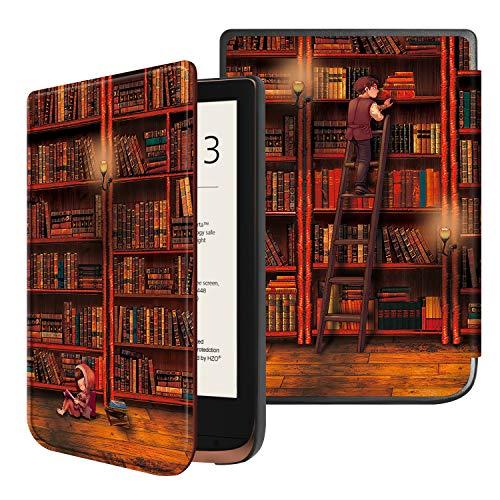 Fintie Hülle für Pocketbook Touch HD 3 / Touch Lux 4 / Touch Lux 5 / Basic Lux 2 / Color (2020) e-Book Reader - Superdünne Schutzhülle mit Auto Aufwachen/Schlafen, Magnetverschluss, die Bibliothek