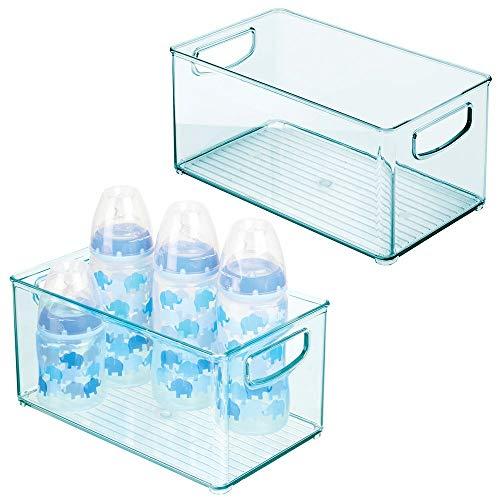 mDesign 2er-Set Kinderzimmer Organizer – Sortierbox mit praktischen Griffen, ohne Deckel – BPA-freier Kunststoffbehälter mit großem Fach für Spielzeug, Windeln, Stofftiere & Co. – hellblau