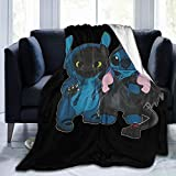 Stitch and Toothless Double Super Soft Micro Fleece Blanket Warm and Light Luxury Bedding 50'x40'