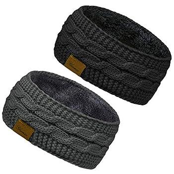 2 Pack Ear Warmer Headband Women Winter Cable Knit Headband Twist Fuzzy Fleece Lined Gifts Stocking Stuffers for Mom