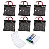 GTIWUNG 6PCS AA Support de Batterie, AA Noir Batterie Stockage Boite Coffre Support, AA Battery Holder Box Case, 4 x 1,5V