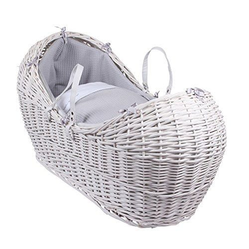 Why Choose Clair de Lune Silver Lining White Wicker Noah Pod, Grey