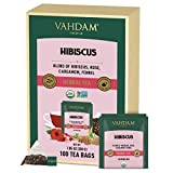 VAHDAM, Biologico Tisane Ibisco (100 Bustine di Tè) | 100% Ingredienti Naturali | SENZA CAFFEINA | Per le tue Difese Immunitarie | Tisana Dimagrante ai Petali di Ibisco Rosa | Tisane Depuranti