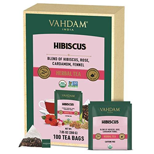 VAHDAM, Orgánica Tisana de Hibisco (100 Bolsitas de Té) | Ingredientes 100% Naturales | SIN CAFEÍNA | Refuerza la Inmunidad | Pétalos de Hibisco + Especias | Infusiones Para Adelgazar | Té Infusiones