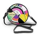 Bolso inclinado de las mujeres del fondo del círculo abstracto del estilo vintage, bolso de hombro único personalizado, bolso de la fecha