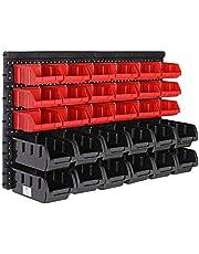 Deuba Wandrek met stapelboxen | 32-delige box | Extra sterke wandplaten | rek uitbreidbaar | Werkplaatsrek opslagrek werkplaatswandrek insteekrek