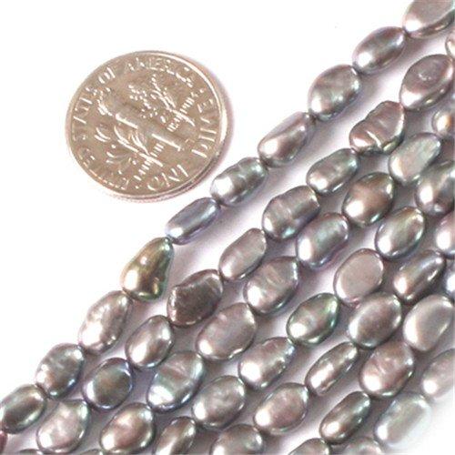 GEM-Inside 5X6mm Freeform Black Silver Freshwater Cultured Pearl Beads Strand 15 Inchesjewelry Making Beads (Cultured Strand)