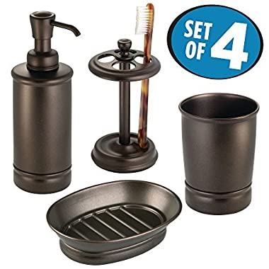 mDesign Bathroom Tumbler, Toothbrush Holder, Soap Dish and Soap Dispenser Pump - Set of 4, Bronze