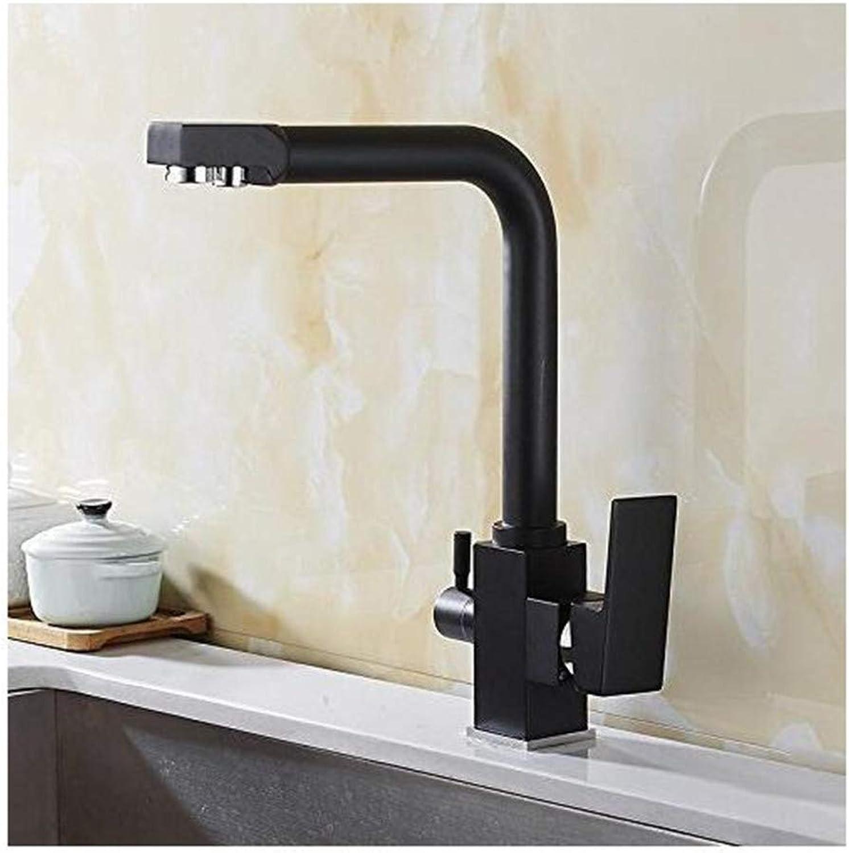 Wasserhahn Moderne überzogene Mischbatterie Küchenarmaturen Messing Becken Wasserhahn Platz Dual Griffe Dual Lcher Waschbecken Mischbatterie Hei Kalt 360 Grad Deck Montiert