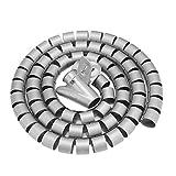 Esenlong Organizador de cables flexible en espiral para cables de 1,5 m x 22 mm, color negro