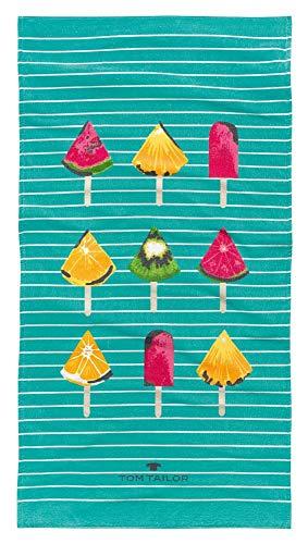 Tom Tailor Strandtuch Fruit Style, Aqua, 85 x 160 cm, Duschtuch, Badetuch, Badezimmer, Liegetuch, Saunatuch, Badezimmerzubehör