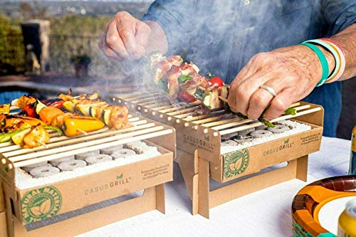CasusGrill Single Use Biodegradable Mini Grill: Portable & Disposable Grill, Great for Outdoor Charcoal BBQ & Camping, All Natural Materials, Easy Set Up - No Lighter Fluid Needed