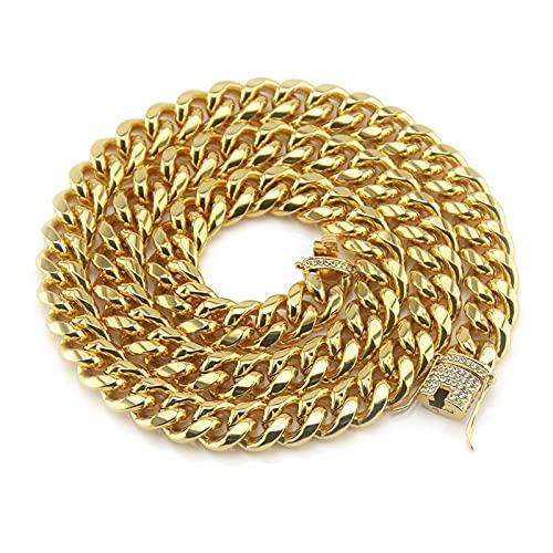 YHQKJ Cadena Cubana de Miami para Hombres, Collar Chapado en Oro de aleación, Colgante exagerado de Cadena de Oro, Amplia joyería de Hip Hop de 1.4 cm, Retro (Color : Gold, Size : 18inch)