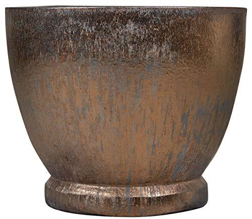 Casa Padrino Jugendstil Blumentopf Bronze/Grau Ø 52 x H. 43 cm - Handgefertigter runder Terracotta Pflanzentopf - Garten & Terrassen Deko Accessoires