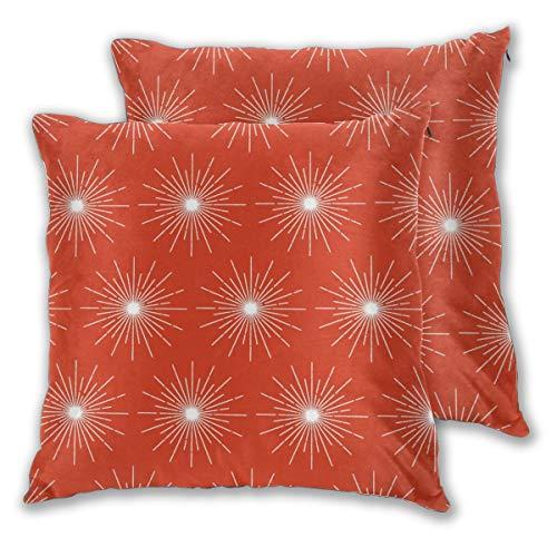 Funda de cojín Pulsar (sopa de tomates), diseño de galaxia en el espacio exterior, estrellas, cósmicas, atómicas, mediados de siglo, moderno juego de 2 fundas de almohada cuadradas para sofá o dormitorio