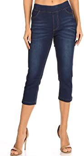 Women's Pull-On Stretch Slit Denim Capri Jeggings with Pockets