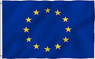 Anley Fly Breeze 90 x 150 cm Bandera Unión Europea - Colores Vivos y Resistentes a Rayos UVA - Bordes Reforzados con Lona y Doble Costura - EU Banderas Poliéster con Ojales de Latón 90 x 150 cm