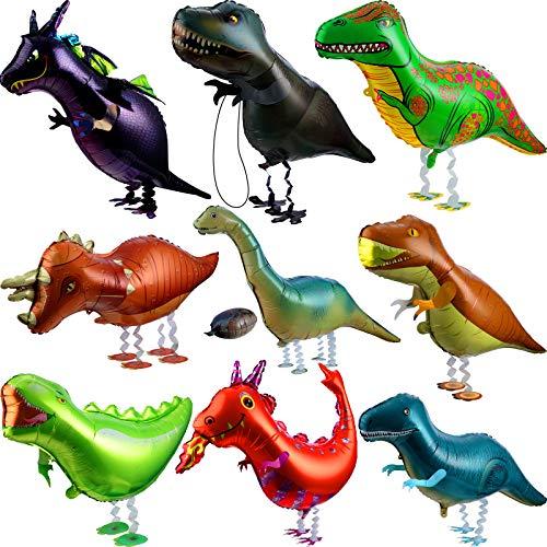 9 Pezzi Palloncino Dinosauro Ambulante Palloncino da Animale Camminare Cartoon Palloncini in Lamina di Elio Palloncino Dinosauro Larga per Festa di Compleanno a Tema Bomboniere e Negozio
