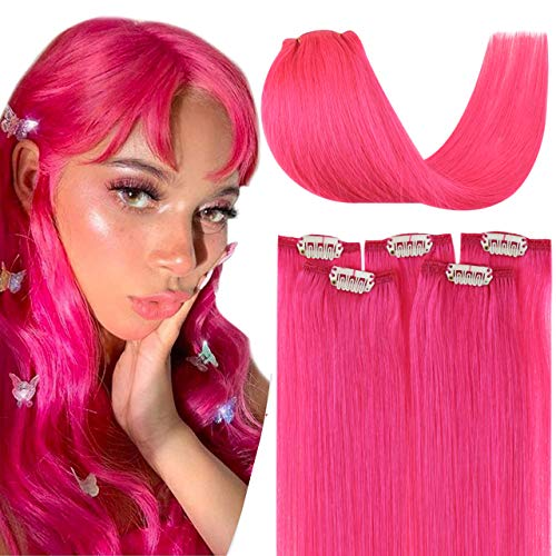 Hetto Extension a Clips Naturel Tête Pleine Remy Humain Hair Rose Extension Cheveux Lisse a Clip 20 Pouces Clip in Extensions 5 Pièces 40g par Paquet