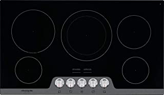 Verona Designer Series VDFSEE365W 36 Inch 5.0 Cu Ft Electric Range Oven 5 Burners Dual Center Element Smoothtop Black Ceramic Cooktop Convection White