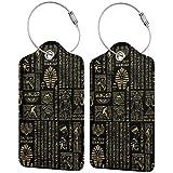 Jeroglíficos egipcios y deidades doradas sobre negro para equipaje de mano, con correas ajustables para viajes y negocios, 2 por juego
