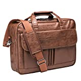 Mens Laptop Bag,15.6 Inch Leather Messenger Bag Water Resistant Business Travel Briefcase, Work Computer Bag Satchel Bag Husband Gifts(Brown)