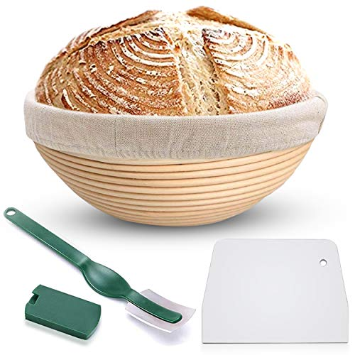 Bread Proofing Banneton Basket Set - 9 Inch Round Natural Rattan Bread Basket, with Linen Liner Cloth and Sourdough Bread Scraper Tool, Ideal Basket Gift For Professional Or Home Bakers