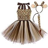 3pièces Tenue de Animaux Déguisement Fille Enfant Léopard/Girafe/Zèbre/Tigre/Vaches Tutu Princesse Robe Cosplay Carnaval Halloween Costume Girafe 7-8 Ans