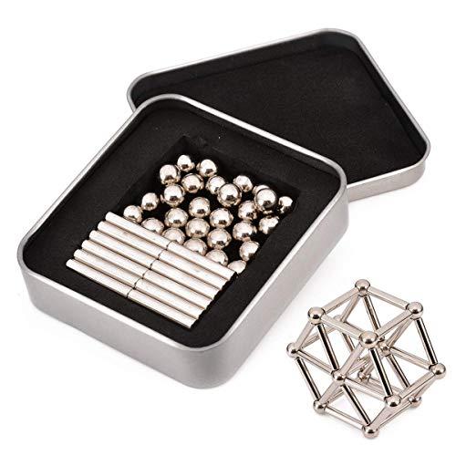 Magnetische Bausteine,magnetische bausteine Spielzeug-Sets Metall Puzzle Schreibtisch Büro Spielzeug Spiel für Kinder und Erwachsene 63pcs