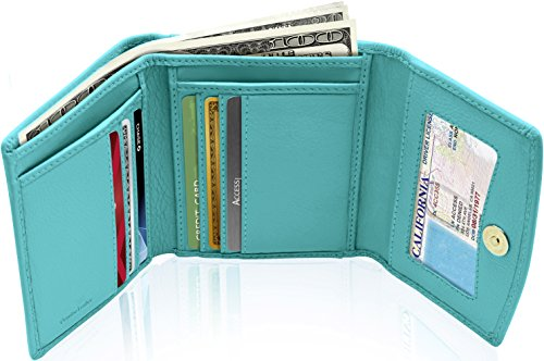 REAL LEATHER Small Wallets For Women - Compact Ladies Credit Card Holder With Coin Purse RFID Holiday Gifts For Her