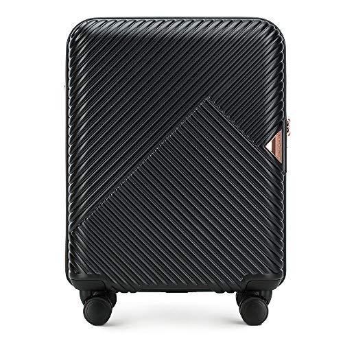 Stabiler Reisekoffer Trolley Koffer Handgepäck von Wittchen Schwarz Polycarbonate Hartschalen Trolley 8 Rollen Kombinationsschloss