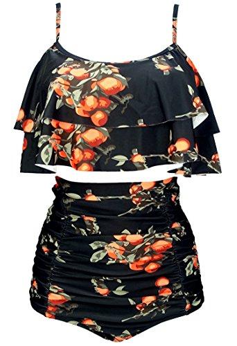 COCOSHIP Black & Orange Tangerine Fruit Retro Ruffled Bikini Set Straps Flounce Falbala Top Tiered Ruched High Waist Cruise Swimwear 12