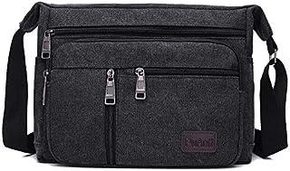 FYXKGLan Men's Canvas Bag Men's Shoulder Messenger Bag Fashion Diagonal Shoulder Bag Small Bag Large Capacity Multi-Layer Men's Bag (Color : Black)