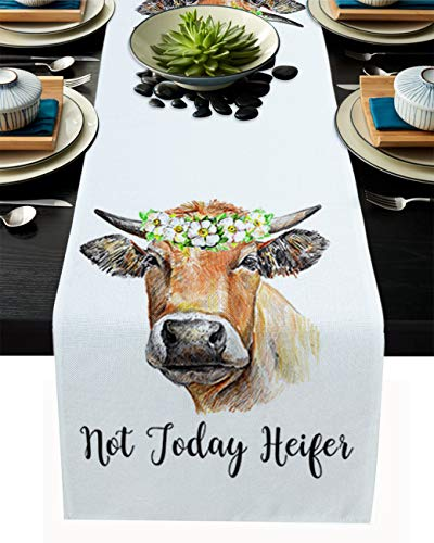 Table Runner 108 Inches Long Not Today Heifer A Calf in a Garland Pattern for Dining Coffee Table, Burlap Rectangle Table Cloth Decor Dress Scarf Birthday Wedding Holiday Party, 13''x 108''