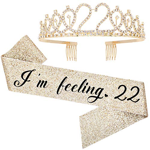 'I'm Feeling 22' Sash & Rhinestone Tiara Set - 22nd Birthday Sash 22 Birthday Gifts Birthday Party Favors