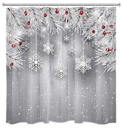 HVEST Winter Snowflake Shower Curtain Silver Christmas with Wood Plank Shower Curtain Snow Shower Curtains for Bathroom, 72W x 72H Inches Shower Curtain Sets with Hooks