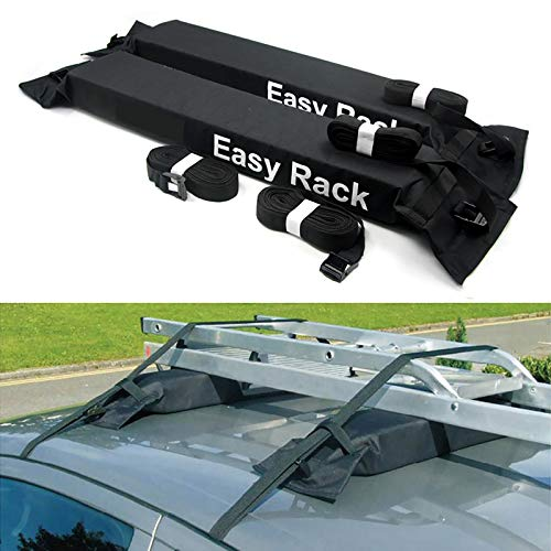 BrightFootBook Soft Surfboard Roof Rack Universal Fit for Cars and SUVs,Barra de Techo Portaequipajes Coche Techo Carga,Portaequipajes para Coche,Equipaje Fácil Ajuste Desmontable,Black