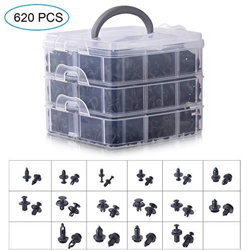 Hivexagon 620 stück Auto Befestigung Clips, Universal Clips und Klammern, Auto Clips Set Türverkleidung Klammern Stoßstangen Zierleisten Plastikklips