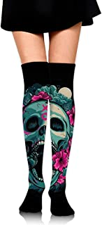 Calcetines largos hasta la rodilla Simpático símbolo musical estampado sobre muslo Medias largas y altas