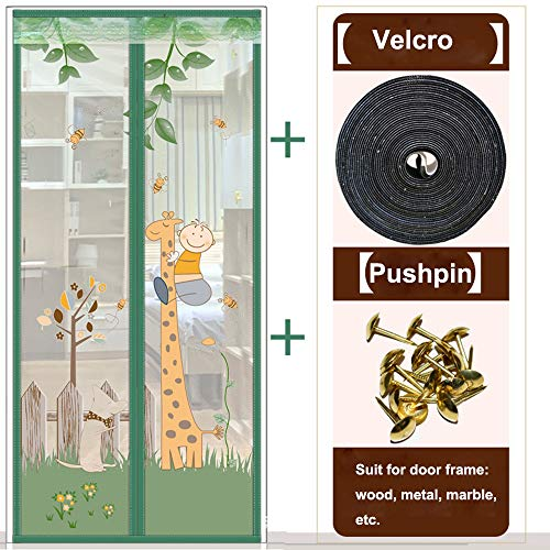 Magnetische Deur Mesh, Insect Klamboe Screen Bug Fly Guard Soft Cartoon Kitchen Curtain,100 * 220cm