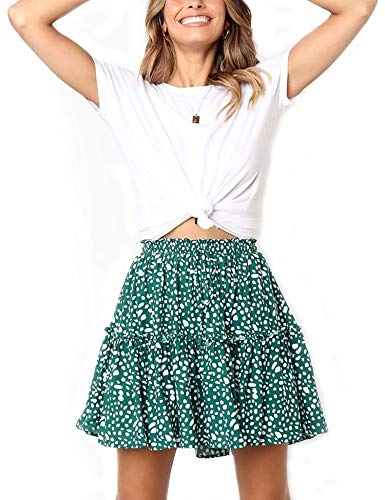Relipop Women's Flared Short Skirt Polka Dot Pleated Mini Skater Skirt with Drawstring (T4, Large)
