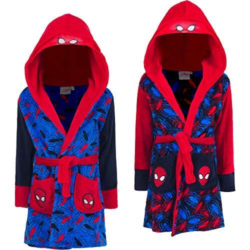 Marvel Spider-Man Kinder Bade-Mantel Morgenmantel mit Kapuze, Farbe:Rot, Größe:98 (3 A)