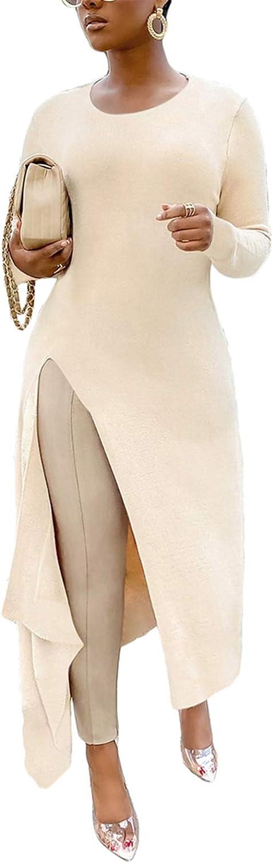 High Low Tops for Women Casual Side High Split Long Maxi Tops Blouse Tunic Shirt Dress