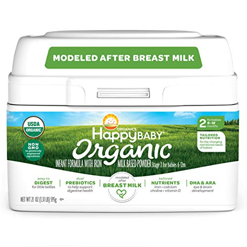 Happy Family Baby Organic Infant Formula Milk Based Powder with Iron, Stage 2, 6-12 month (Pack of 1) 21 Ounce